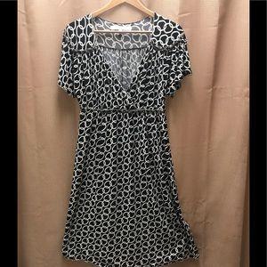 Studio M Wrinkle Free Black & White Dress